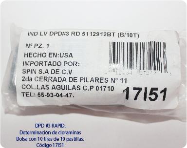 REACTIVO EN PASTILLAS DPD3 PARA DETECCIÓN DE CLORAMINAS